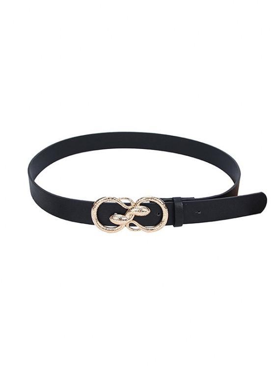 ladies Snake Buckle PU Leather Waist Belt - BLACK