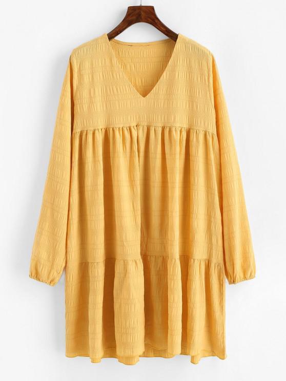 hot V Neck Casual Long Sleeve Tunic Dress - DEEP YELLOW S