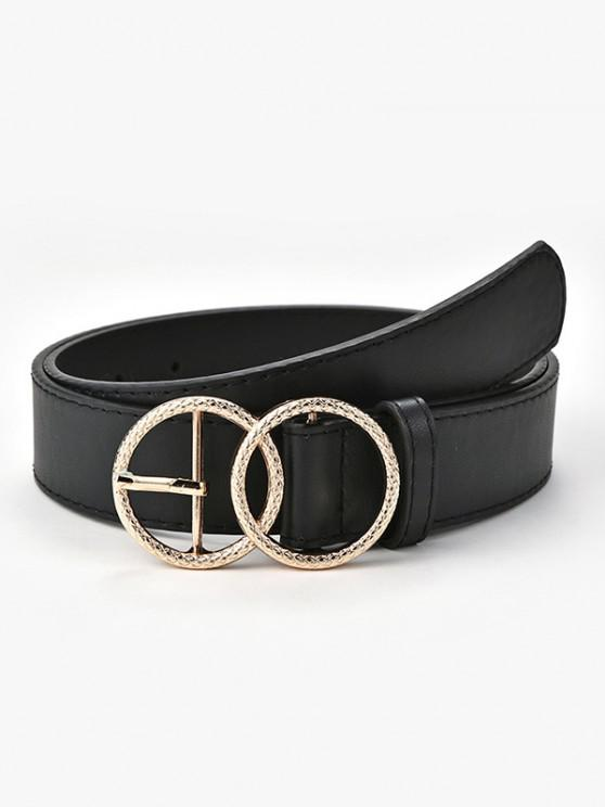 sale Engraved Circle Pin Buckle Belt - BLACK