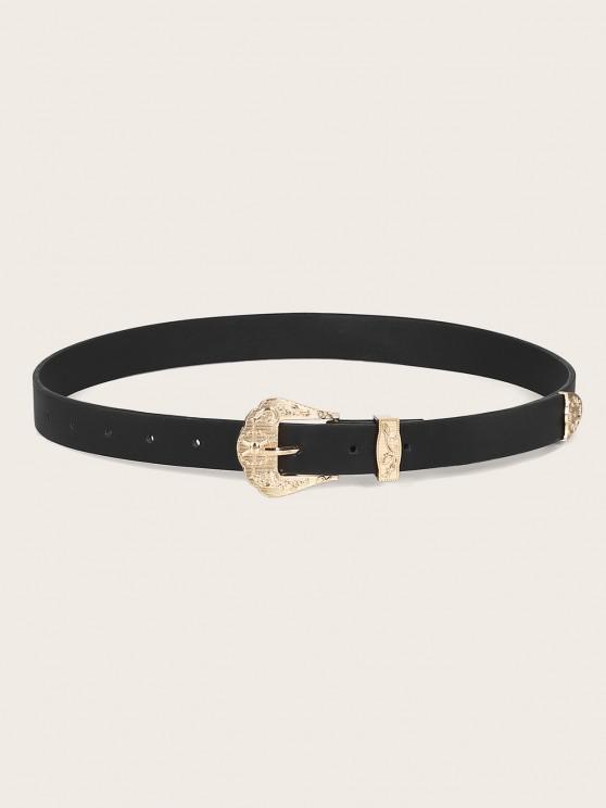 affordable Embossed Flower Buckle PU Leather Waist Belt - BLACK