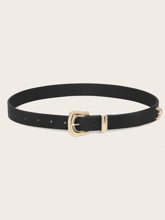 womens Retro Carved Pin Buckle Belt - BLACK