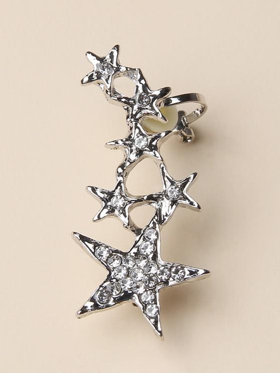 buy Stars Shape Rhinestone Ear Cuff - SILVER
