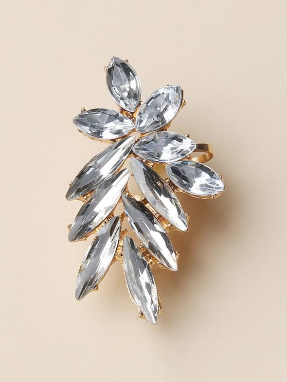 women's Rhinestone Leaves Shape Cuff Earring - GOLDEN