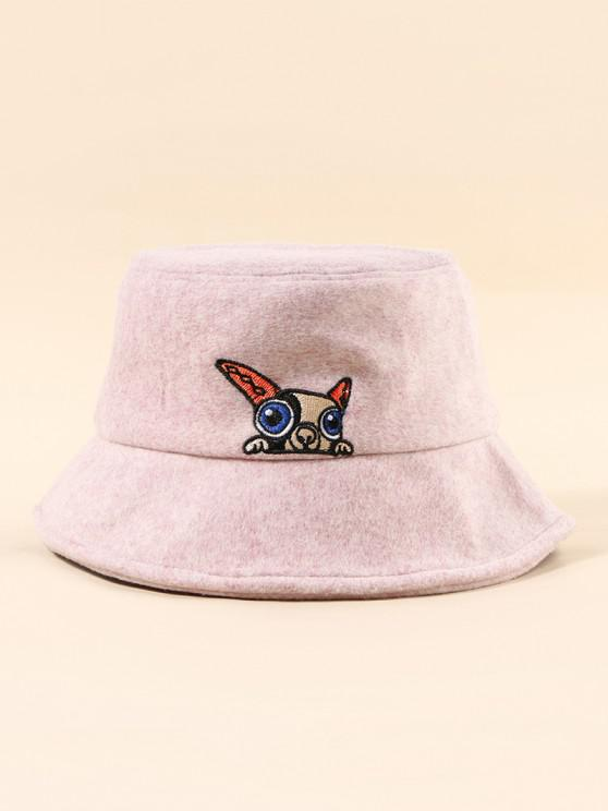 buy Puppy Embroidery Pattern Bucket Hat - PIG PINK