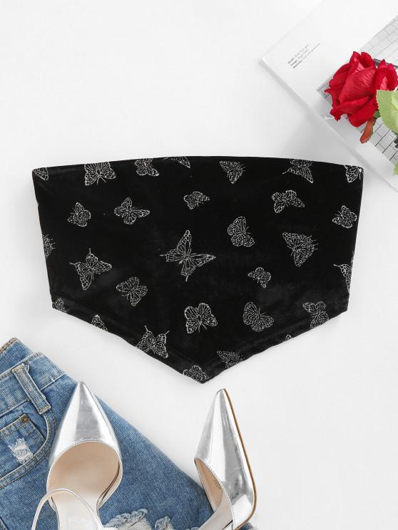 outfits ZAFUL Sparkly Butterfly Velvet Tie Back Bandana Top - BLACK L
