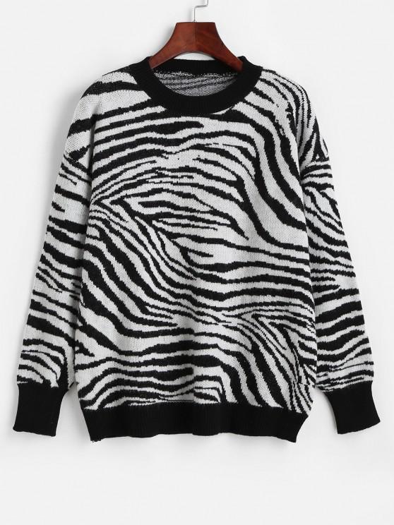 Maglione a Girocollo di Zebra con Spalle Scivolate - Multi Colori-H Taglia unica