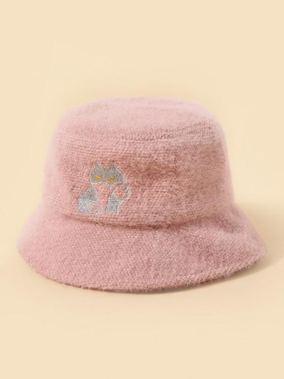 unique Embroidery Cat Pattern Bucket Hat - FLAMINGO PINK