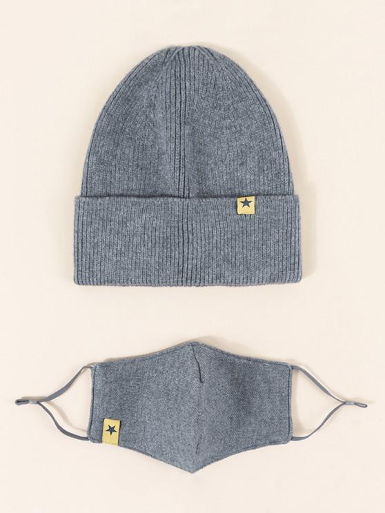 womens Label Button Knitted Hat Mask Set - LIGHT SLATE GRAY