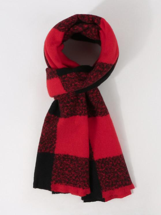 chic Checked Print Winter Long Scarf - RED