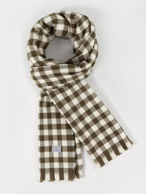 unique Long Checkered Pattern Fringe Scarf - CAMOUFLAGE GREEN