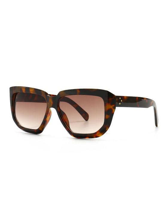 Übergroße Unregelmäßige Niet Sonnenbrillen - Leopard