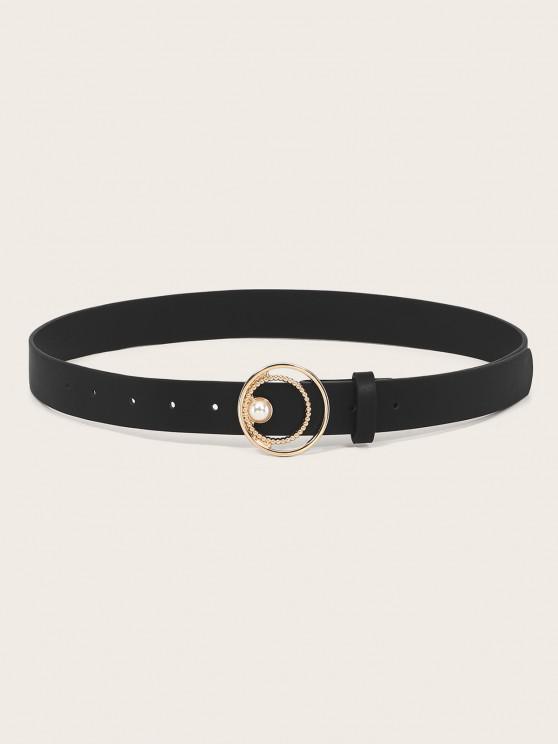 Faux Pearl Circle Waist Belt - أسود