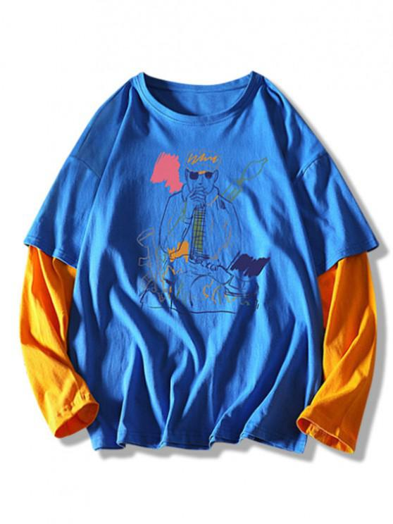 Figure Pattern Faux Twinset T-shirt - أزرق XL
