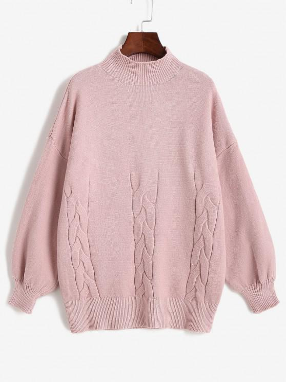women High Neck Cable Knit Drop Shoulder Solid Sweater - LIGHT PINK ONE SIZE