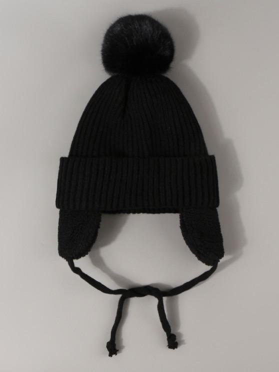 buy Inner Plush Knitted Ear Warmer Hat - BLACK