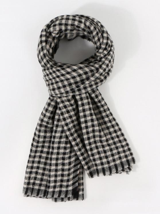 women's Long Checkered Pattern Winter Scarf - NIGHT