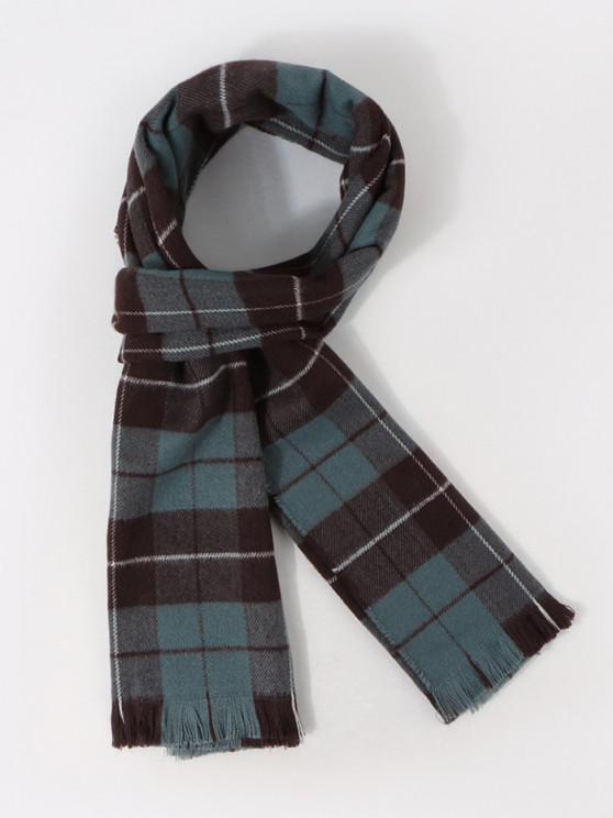 ladies Plaid Pattern Long Shawl Scarf - PEACOCK BLUE