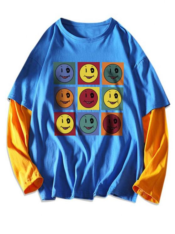 Naughty Smiling Face Print Faux Twinset T-shirt - أزرق 3XL