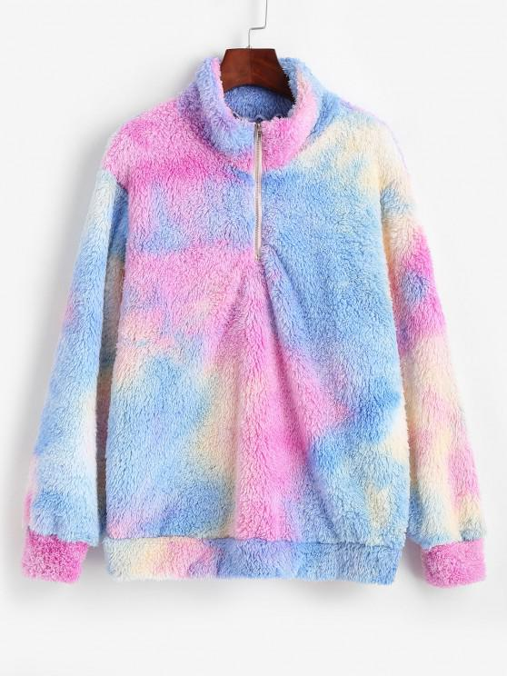 womens ZAFUL Quarter Zip Tie Dye Fluffy Sweatshirt - BLUE L