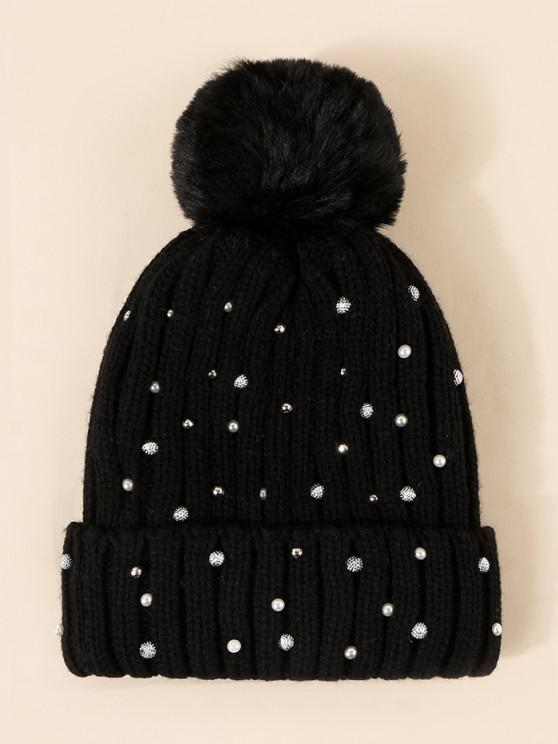 Rivet Faux Pearl Plush Knitted Hat - ليل