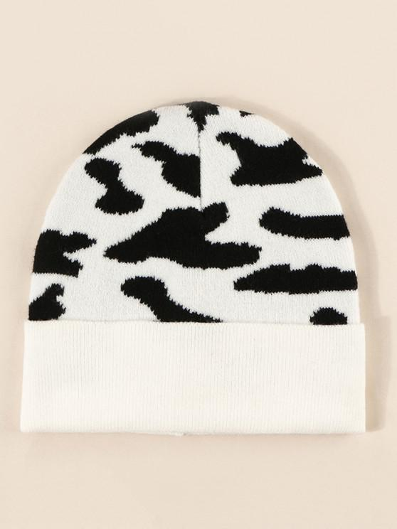 Cow Print Knitted Hat - حليب ابيض