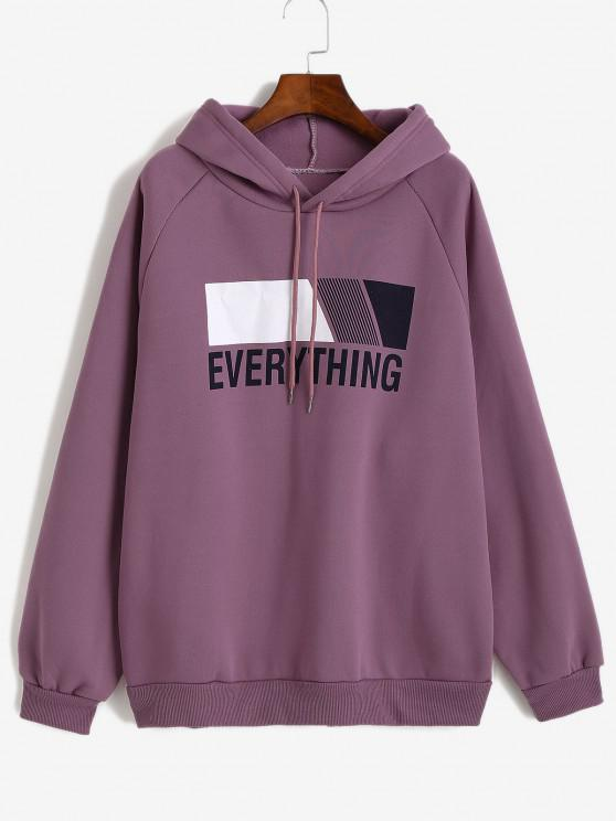 fashion Oversize Fleece Lined EVERYTHING Graphic Hoodie - PURPLE FLOWER M