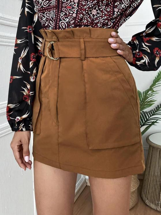 women's Mini Paperbag Skirt with Pockets - COFFEE M