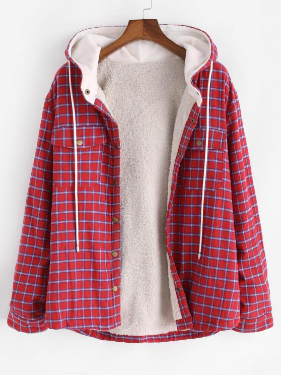 unique Plaid Faux Fur Fluffy Pocket Hooded Shirt Jacket - RED L