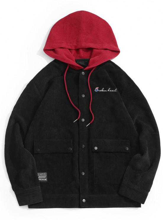 buy Hooded Letter Embroidered Double Pockets Jacket - BLACK S