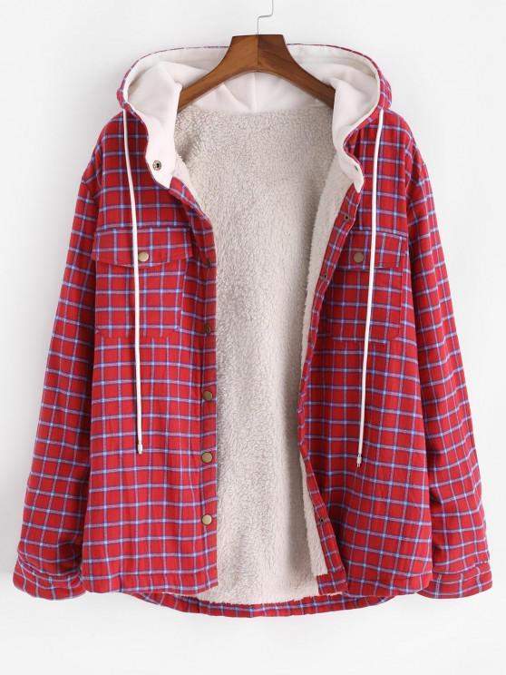 Plaid Faux Fur Fluffy Pocket Hooded Shirt Jacket - أحمر S