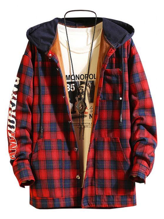 Plaid Fleece Colorblock Hooded Shirt Jacket - أحمر عميق L