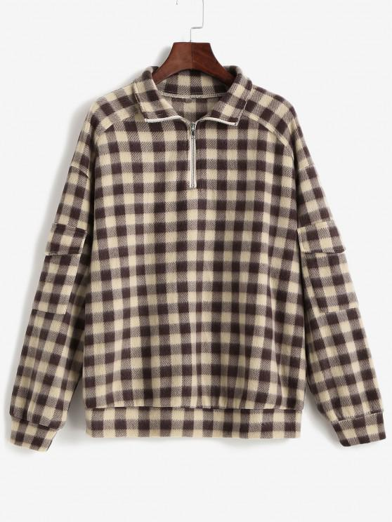 ZAFUL Plaid Quarter Zip Pockets Flannel Sweatshirt - القهوة العميقة M