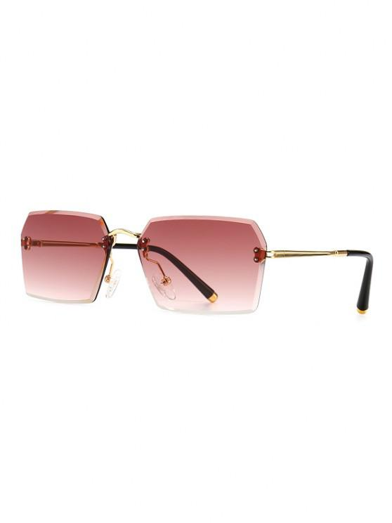 trendy Ombre Cutting Edge Irregular Sunglasses - RED WINE