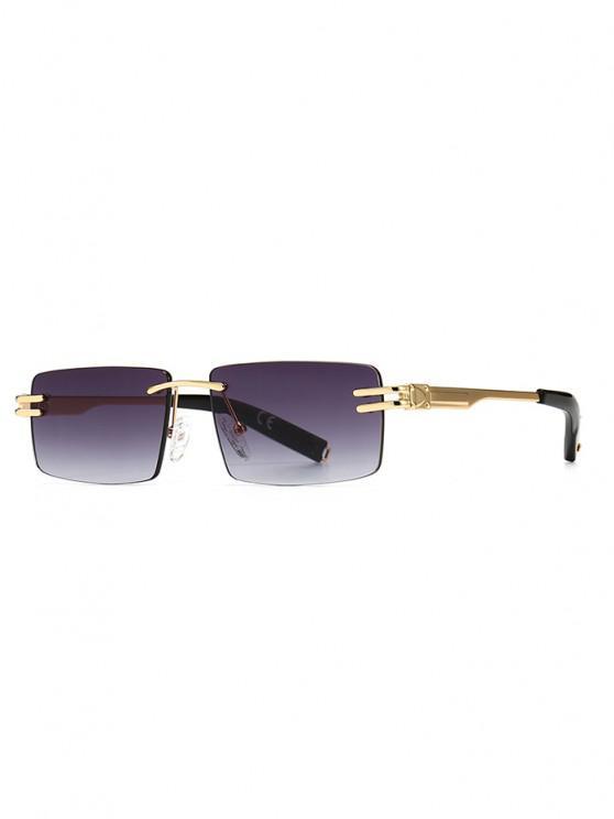 Narrow Rectangle Ombre Rimless Sunglasses - أسود