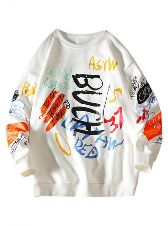 Sweatshirt mit Buchstaben und Rundhals - Weiß 2XL