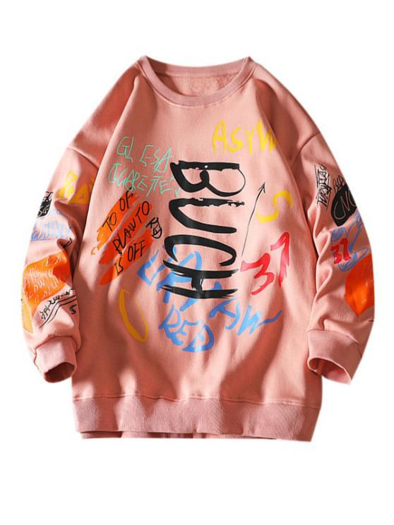 Sweatshirt mit Buchstaben und Rundhals - Rosa 2XL