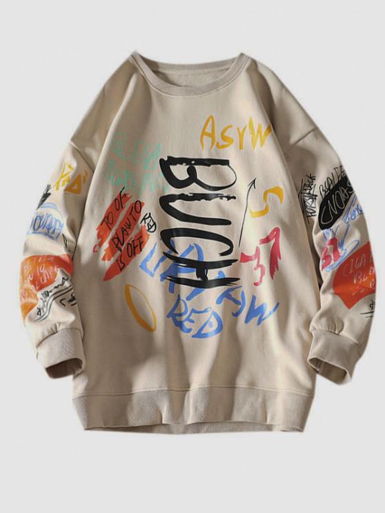 Sweatshirt mit Buchstaben und Rundhals - Khaki XL