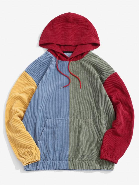 Corduroy Color Blocking Patchwork Hoodie - أحمر M