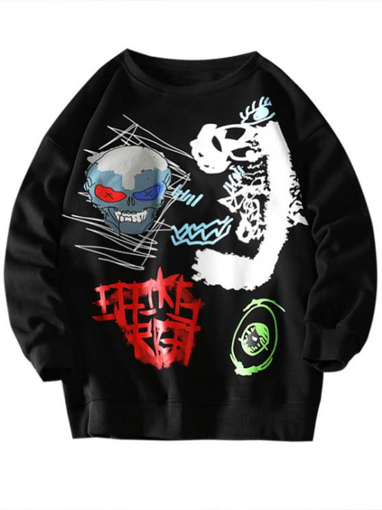 shops Skull Eye Letter Pattern Graphic Sweatshirt - BLACK S