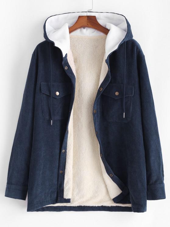 lady Hooded Double Pockets Fleece Corduroy Jacket - DARK SLATE BLUE XL
