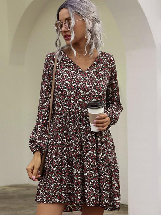Long Sleeves Ditsy Floral Smock Dress - أحمر عميق L