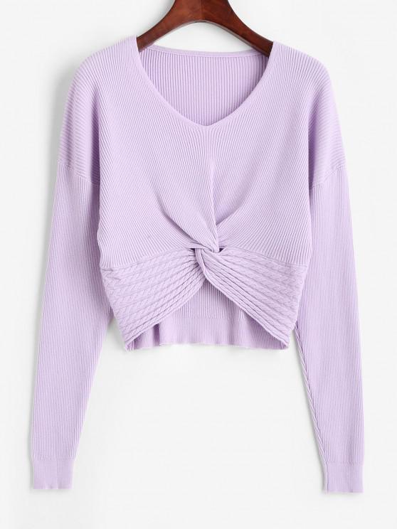 shop V Neck Twisted Hem Cable Knit Knitwear - PURPLE FLOWER ONE SIZE