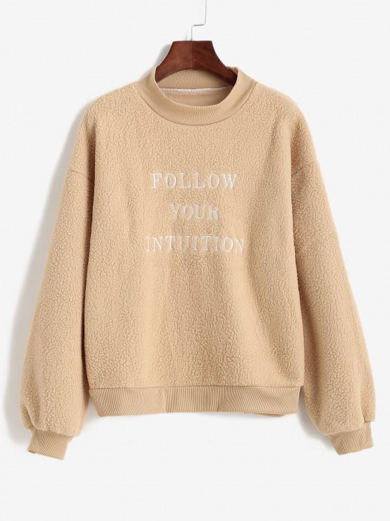 Letter Embroidered Mock Neck Teddy Sweatshirt - كوكي براون S