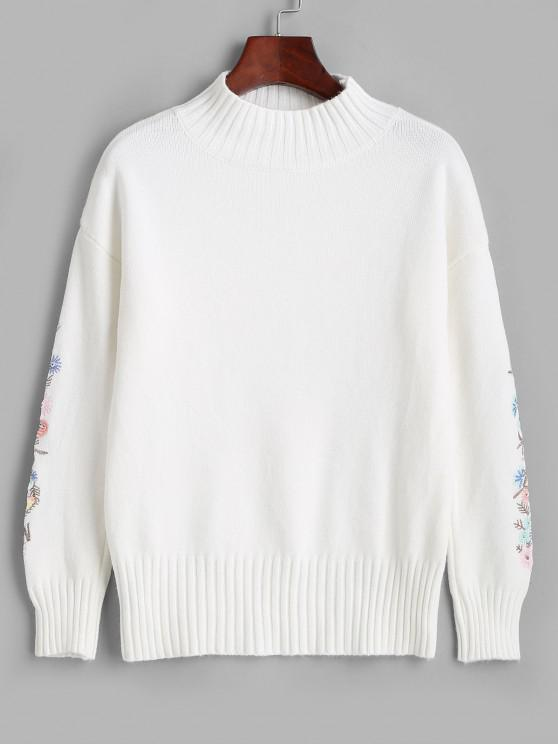 online High Neck Floral Embroidered Drop Shoulder Sweater - MILK WHITE ONE SIZE