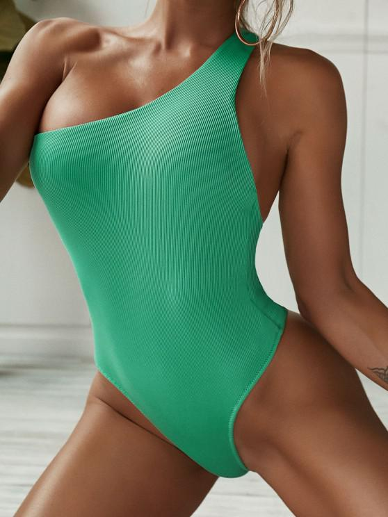 lady ZAFUL Ribbed One Shoulder Plain Cutout One-piece Swimsuit - LIGHT GREEN M