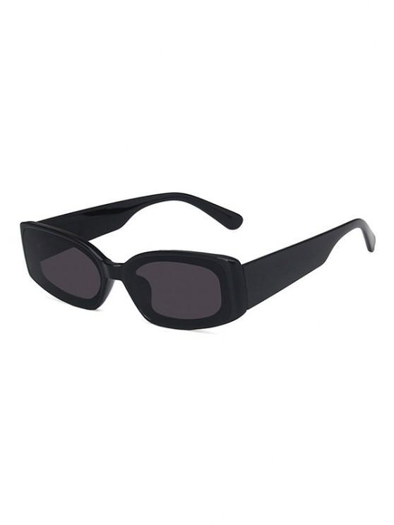 shops Rectangle Wide Temple Sunglasses - BLACK