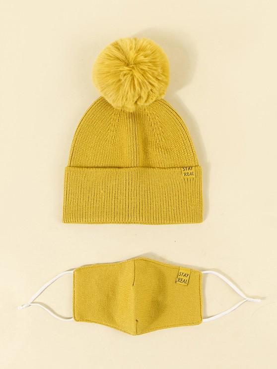 outfit Label Button Knitted Hat Mask Set - GOLDEN BROWN