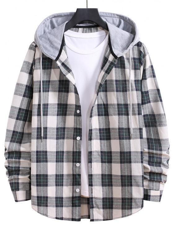 lady Drawstring Hooded Plaid Print Button Up Shirt - GRAYISH TURQUOISE S