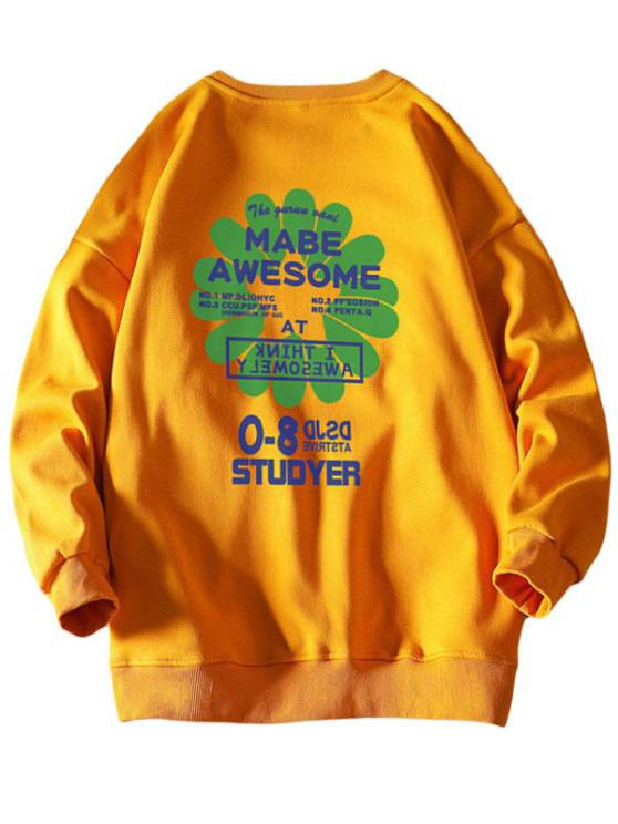 lady Awesome Flower Letter Print Graphic Sweatshirt - YELLOW XL