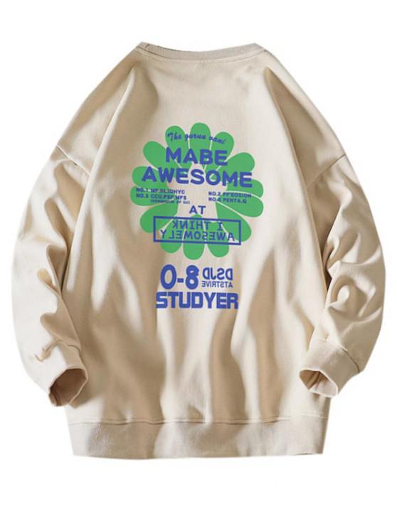 Sweat-shirt Lettre Graphique Fleur Design - Kaki L